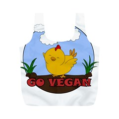 Go Vegan   Cute Chick  Full Print Recycle Bags (m)