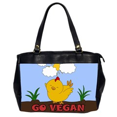 Go Vegan   Cute Chick  Office Handbags (2 Sides)  by Valentinaart