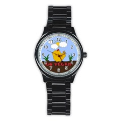 Go Vegan   Cute Chick  Stainless Steel Round Watch by Valentinaart
