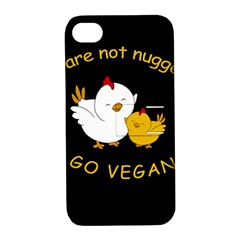 Go Vegan   Cute Chick  Apple Iphone 4/4s Hardshell Case With Stand by Valentinaart