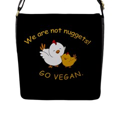 Go Vegan   Cute Chick  Flap Messenger Bag (l)  by Valentinaart