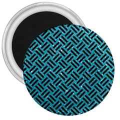 Woven2 Black Marble & Turquoise Glitter 3  Magnets by trendistuff