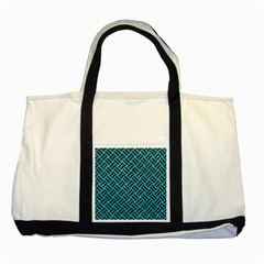Woven2 Black Marble & Turquoise Glitter Two Tone Tote Bag by trendistuff