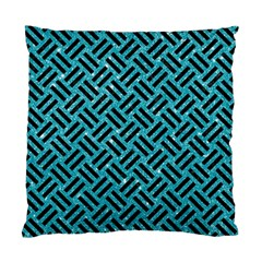 Woven2 Black Marble & Turquoise Glitter Standard Cushion Case (two Sides)
