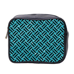 Woven2 Black Marble & Turquoise Glitter Mini Toiletries Bag 2 Side by trendistuff
