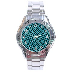 Woven2 Black Marble & Turquoise Glitter Stainless Steel Analogue Watch by trendistuff