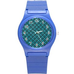 Woven2 Black Marble & Turquoise Glitter Round Plastic Sport Watch (s) by trendistuff