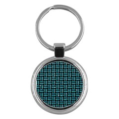 Woven1 Black Marble & Turquoise Glitter (r) Key Chains (round)  by trendistuff