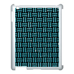 Woven1 Black Marble & Turquoise Glitter (r) Apple Ipad 3/4 Case (white) by trendistuff