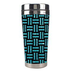 Woven1 Black Marble & Turquoise Glitter (r) Stainless Steel Travel Tumblers by trendistuff