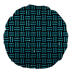 Woven1 Black Marble & Turquoise Glitter (r) Large 18  Premium Flano Round Cushions by trendistuff