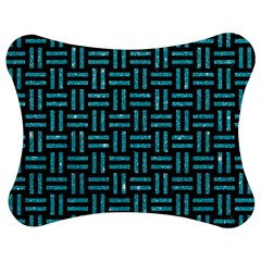 Woven1 Black Marble & Turquoise Glitter (r) Jigsaw Puzzle Photo Stand (bow) by trendistuff