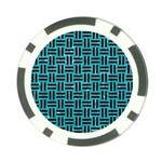 WOVEN1 BLACK MARBLE & TURQUOISE GLITTER Poker Chip Card Guard Front
