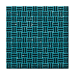 Woven1 Black Marble & Turquoise Glitter Face Towel by trendistuff