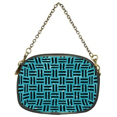 Woven1 Black Marble & Turquoise Glitter Chain Purses (one Side)  by trendistuff