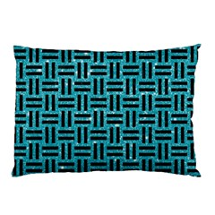 Woven1 Black Marble & Turquoise Glitter Pillow Case