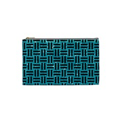 Woven1 Black Marble & Turquoise Glitter Cosmetic Bag (small)  by trendistuff