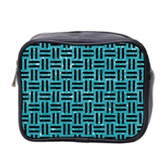 Woven1 Black Marble & Turquoise Glitter Mini Toiletries Bag 2 Side by trendistuff