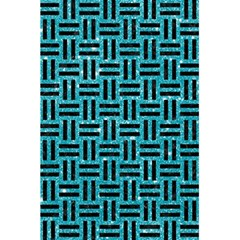 Woven1 Black Marble & Turquoise Glitter 5 5  X 8 5  Notebooks by trendistuff