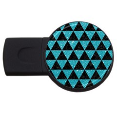 Triangle3 Black Marble & Turquoise Glitter Usb Flash Drive Round (2 Gb) by trendistuff