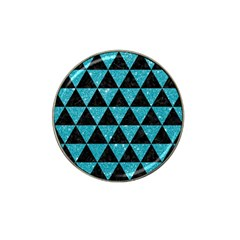 Triangle3 Black Marble & Turquoise Glitter Hat Clip Ball Marker (4 Pack) by trendistuff