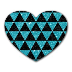 Triangle3 Black Marble & Turquoise Glitter Heart Mousepads by trendistuff