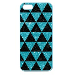 Triangle3 Black Marble & Turquoise Glitter Apple Seamless Iphone 5 Case (color) by trendistuff