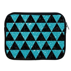 Triangle3 Black Marble & Turquoise Glitter Apple Ipad 2/3/4 Zipper Cases by trendistuff