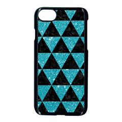 Triangle3 Black Marble & Turquoise Glitter Apple Iphone 8 Seamless Case (black) by trendistuff