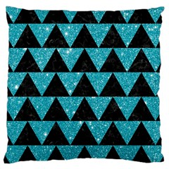 Triangle2 Black Marble & Turquoise Glittertriangle2 Black Marble & Turquoise Glitter Large Cushion Case (two Sides) by trendistuff