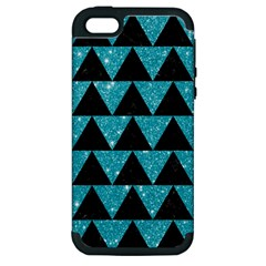 Triangle2 Black Marble & Turquoise Glittertriangle2 Black Marble & Turquoise Glitter Apple Iphone 5 Hardshell Case (pc+silicone) by trendistuff