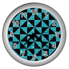 Triangle1 Black Marble & Turquoise Glitter Wall Clocks (silver)  by trendistuff