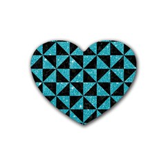 Triangle1 Black Marble & Turquoise Glitter Heart Coaster (4 Pack)  by trendistuff