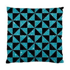 Triangle1 Black Marble & Turquoise Glitter Standard Cushion Case (two Sides) by trendistuff