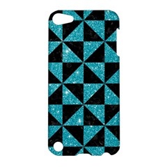 Triangle1 Black Marble & Turquoise Glitter Apple Ipod Touch 5 Hardshell Case by trendistuff