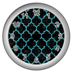 Tile1 Black Marble & Turquoise Glitter (r) Wall Clocks (silver)  by trendistuff