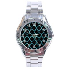 Tile1 Black Marble & Turquoise Glitter (r) Stainless Steel Analogue Watch by trendistuff