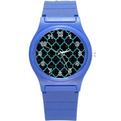Tile1 Black Marble & Turquoise Glitter (r) Round Plastic Sport Watch (s) by trendistuff