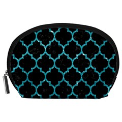 Tile1 Black Marble & Turquoise Glitter (r) Accessory Pouches (large)  by trendistuff