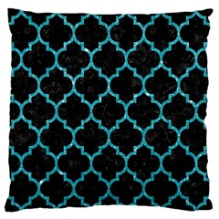 Tile1 Black Marble & Turquoise Glitter (r) Standard Flano Cushion Case (two Sides) by trendistuff
