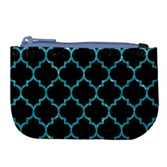 Tile1 Black Marble & Turquoise Glitter (r) Large Coin Purse