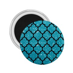 Tile1 Black Marble & Turquoise Glitter 2 25  Magnets by trendistuff