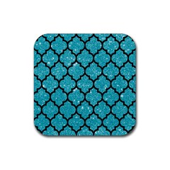 Tile1 Black Marble & Turquoise Glitter Rubber Square Coaster (4 Pack)  by trendistuff