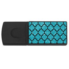 Tile1 Black Marble & Turquoise Glitter Rectangular Usb Flash Drive by trendistuff