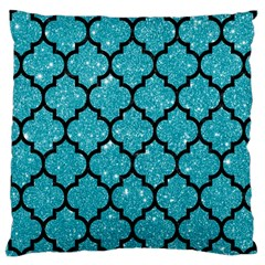 Tile1 Black Marble & Turquoise Glitter Large Cushion Case (one Side) by trendistuff