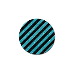 Stripes3 Black Marble & Turquoise Glitter (r) Golf Ball Marker (10 Pack) by trendistuff