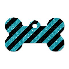 Stripes3 Black Marble & Turquoise Glitter (r) Dog Tag Bone (one Side) by trendistuff