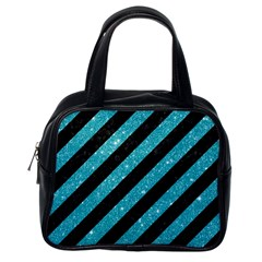 Stripes3 Black Marble & Turquoise Glitter (r) Classic Handbags (one Side) by trendistuff