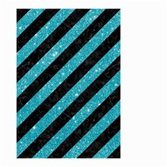 Stripes3 Black Marble & Turquoise Glitter (r) Small Garden Flag (two Sides) by trendistuff