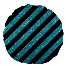 Stripes3 Black Marble & Turquoise Glitter (r) Large 18  Premium Round Cushions by trendistuff